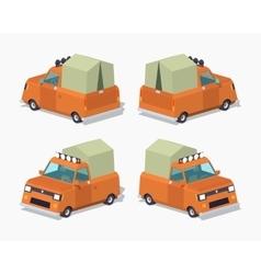 Orange pickup with tent vector image