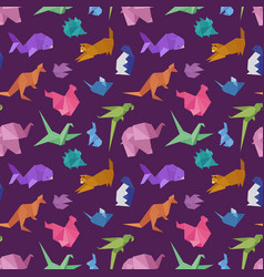 Origami paper animals geometric game japanese toys vector