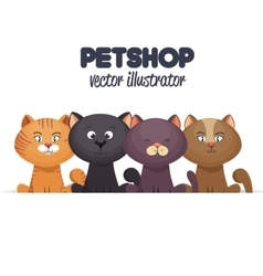 pet shop emblem with kittens design vector image