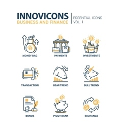 Set of modern office thin line flat design icons vector image vector image
