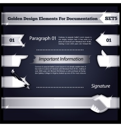 Silver Design Elements For Documentation Set5 vector image vector image