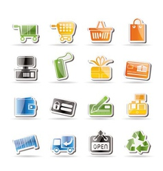 simple online shop icons vector image