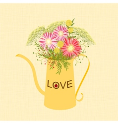 Springtime Colorful Flower Watering Can Background vector image