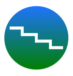Stair down sign white icon in bluish vector