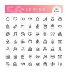 wedding line icons set vector image