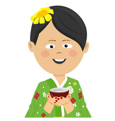 woman wearing japanese kimono holding tea cup vector image vector image