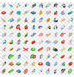 100 biz icons set isometric 3d style vector