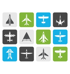 Flat different types of plane icons vector