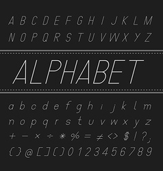 Alphabet font design thin italic vector