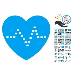 Dotted heart pulse icon with 2017 year bonus vector