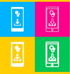 Phone settings download and install apps four vector
