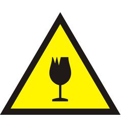 Broken glass warning sign vector