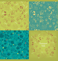 Seamless and round floral graceful patterns set vector