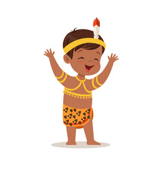 Boy wearing national costume of africa colorful vector