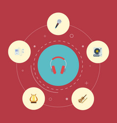 Flat icons fiddle mp3 player turntable and other vector