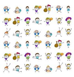 set of cartoon happy kids vector image