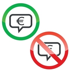 Euro message permission signs vector
