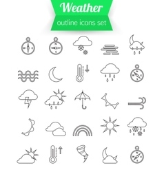 Set of outline weather icons sunshine rain wind vector