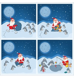 Adventures of santa claus and penguins vector