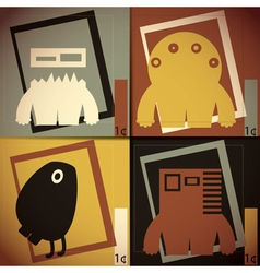 Set of four colorful monsters vector