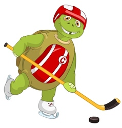 Funny turtle hockey player vector