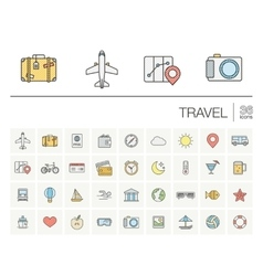 Travel and tourism color icons vector