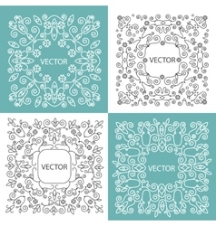 Floral frame mono line style vector