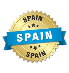 Spain round golden badge with blue ribbon vector