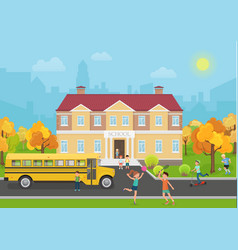 School building with children in yard and yellow vector