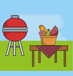 Barbecue grill and food icon vector