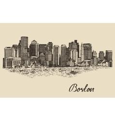 Boston skyline vintage sketch vector
