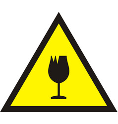 Broken glass warning sign vector