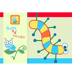 Bugs and grubs childrens characters embroidery vector