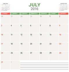 Calendar Planner 2016 Flat Design Template July vector image