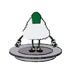 cartoon funny sushi food character japanese vector image vector image