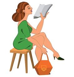 Cartoon woman in green dress and orange bag vector image vector image