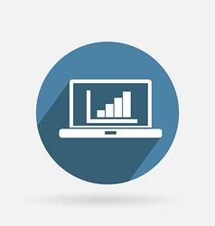 Circle blue icon laptop with symbol diagram vector