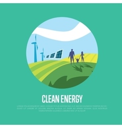 Clean energy sun and wind power generation vector
