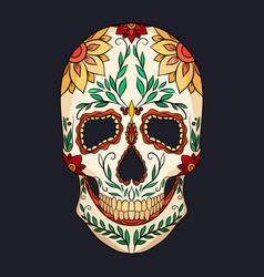 Color of a sugar skull the feast o vector