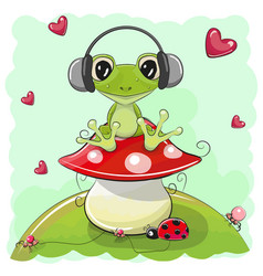 cute cartoon frog with headphones vector image