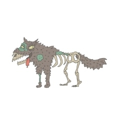 Dog creepy zombie outlined drawing vector
