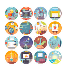 education and science flat circle icons set vector image vector image