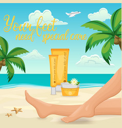 Female Feet Cream Ad vector image