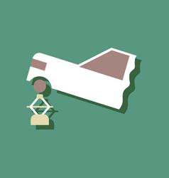 Flat icon design car crane in sticker style vector