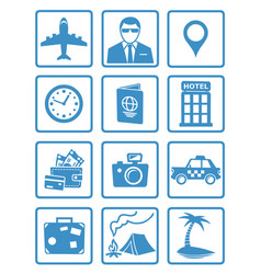 Flat travel icons set vector