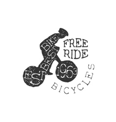 Freeride bicycles vintage label vector