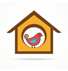 funny bird in feeder vector image