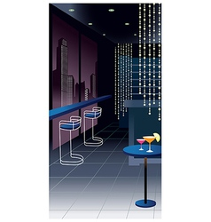 Glamorous bar city view vector