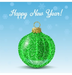 Green new year ball on snowflakes background vector