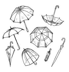 hand drawn umbrellas set vector image